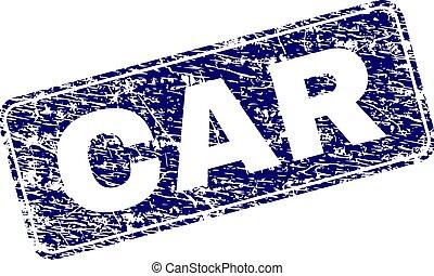 Grunge CAR Framed Rounded Rectangle Stamp