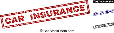Grunge CAR INSURANCE Scratched Rectangle Stamp Seals
