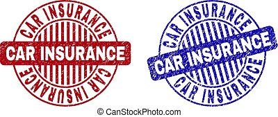 Grunge CAR INSURANCE Textured Round Stamps