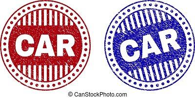 Grunge CAR Scratched Round Stamp Seals