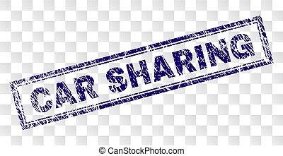 Grunge CAR SHARING Rectangle Stamp