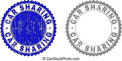 Grunge CAR SHARING Scratched Stamp Seals
