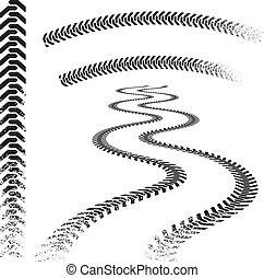 Set of high quality grunged tire tracks