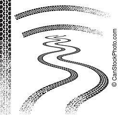 Grunge car Tire tracks - Set of high quality grunged tire...