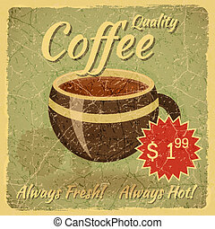 Grunge Card with Coffee Cup