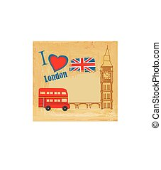 grunge card with icons of London