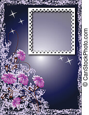 Grunge card with photo frame and flowers - Grunge background...