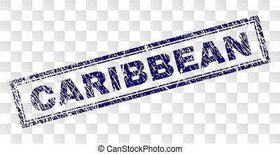 Grunge CARIBBEAN Rectangle Stamp