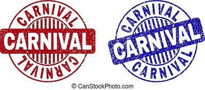 Grunge CARNIVAL Scratched Round Stamps