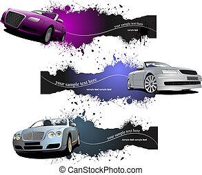 grunge, cars., tres, ilustración, vector, banderas
