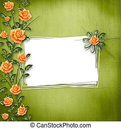 grunge, carta, per, congratulazione, con, pittura, rosa