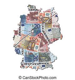 grunge, carte, allemagne, euros