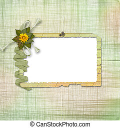 grunge, carte, disegno, in, scrapbooking, stile, con, cornice, e, mazzo fiori