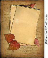 grunge, carte, e, autunno parte