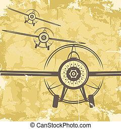 grunge, carte postale, vendange, plane., vecteur, conception