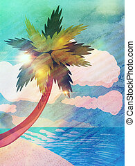 Grunge cartoon beach with palm