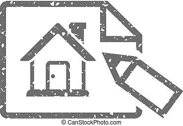 grunge, casa, -, blueprint, ícone