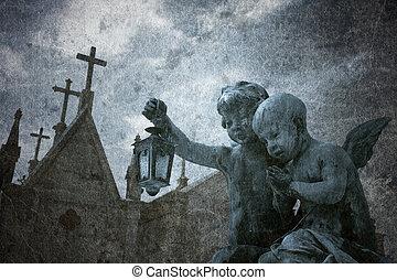 grunge, cementerio, ángeles