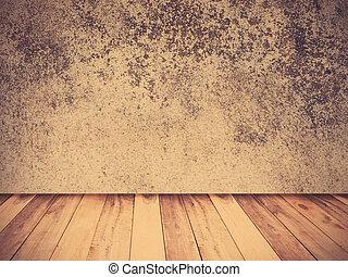 grunge, cemento, parete, e, pavimento legno