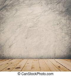 grunge, cemento, parete, e, pavimento legno, fondo, e, struttura, con, space.