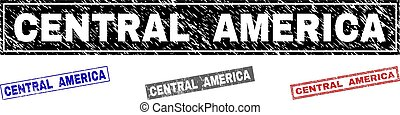 Grunge CENTRAL AMERICA Scratched Rectangle Stamp Seals