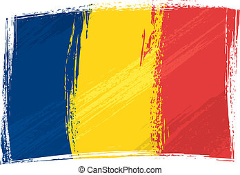 Grunge Chad flag - Chad national flag created in grunge...