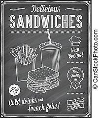 Grunge Chalkboard Fast Food Menu Template 3