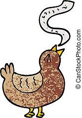 grunge, chanson, illustration, dessin animé, textured, oiseau