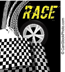 Grunge checkered racing background