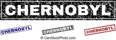Grunge CHERNOBYL rectangle stamp seals isolated on a white background. Rectangular seals with distress texture in red, blue, black and grey colors.