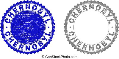 Grunge CHERNOBYL stamp seals isolated on a white background. Rosette seals with grunge texture in blue and grey colors. Vector rubber imitation of CHERNOBYL label inside round rosette.