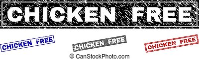 Grunge CHICKEN FREE Scratched Rectangle Stamps