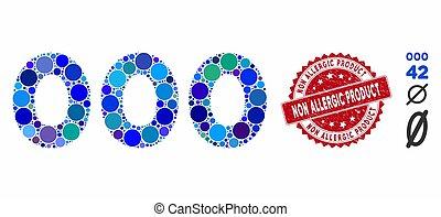 grunge, chiffres, texte, allergique, icône, 000, produit, cachet, collage, non