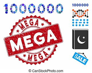grunge, chiffres, timbre, texte, 1000000, icône, mega, collage