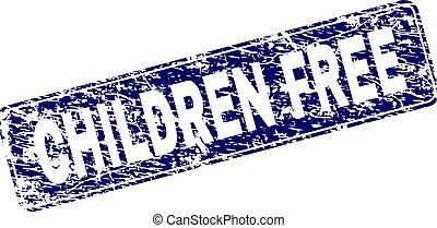 Grunge CHILDREN FREE Framed Rounded Rectangle Stamp