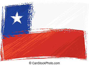 Chile national flag created in grunge style