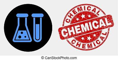 grunge, chimique, vecteur, cachet, verrerie, icône