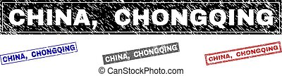 Grunge CHINA, CHONGQING Scratched Rectangle Stamps