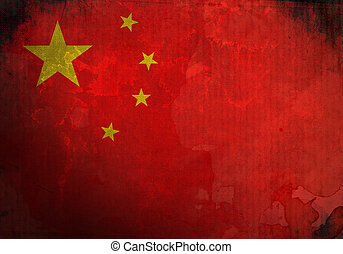 China Flag on old and vintage grunge texture