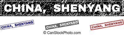 Grunge CHINA, SHENYANG Scratched Rectangle Stamps