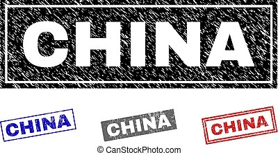 Grunge CHINA Textured Rectangle Watermarks