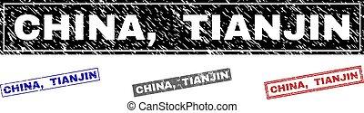Grunge CHINA, TIANJIN Textured Rectangle Stamp Seals