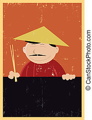 Illustration of a chinese cook showing menu, for those who likes nems, chinese food