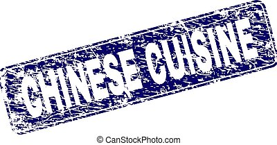 Grunge CHINESE CUISINE Framed Rounded Rectangle Stamp