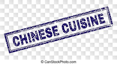 Grunge CHINESE CUISINE Rectangle Stamp