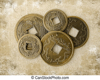 Grunge chinese feng shui coins
