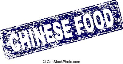 Grunge CHINESE FOOD Framed Rounded Rectangle Stamp