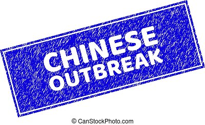 Grunge CHINESE OUTBREAK Textured Rectangle Stamp Seal