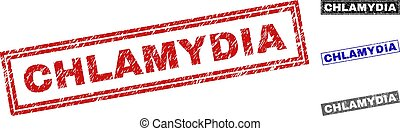 Grunge CHLAMYDIA Scratched Rectangle Stamp Seals