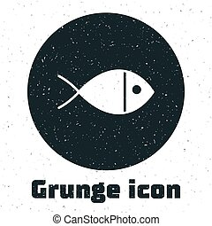 Grunge Christian fish symbol icon isolated on white background. Jesus fish symbol. Monochrome vintage drawing. Vector Illustration